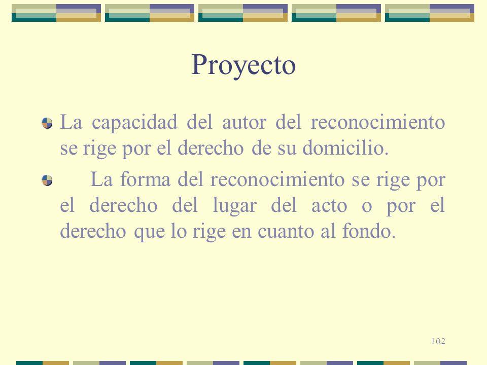 Proyecto La capacidad del autor del reconocimiento se rige por el derecho de su domicilio.