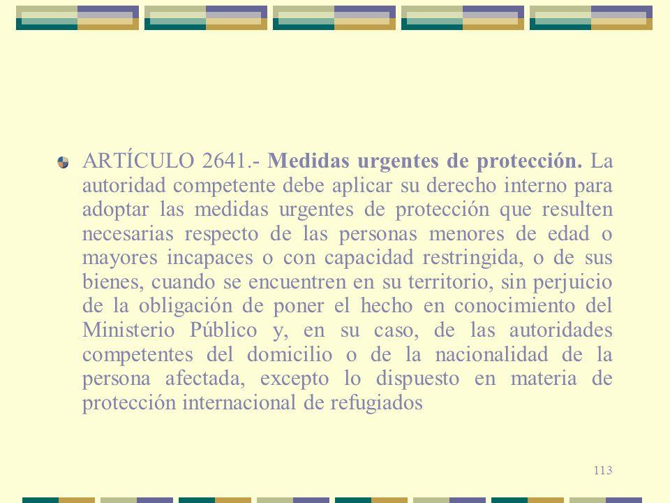 ARTÍCULO 2641. - Medidas urgentes de protección