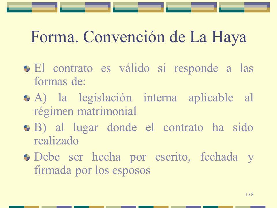 Forma. Convención de La Haya