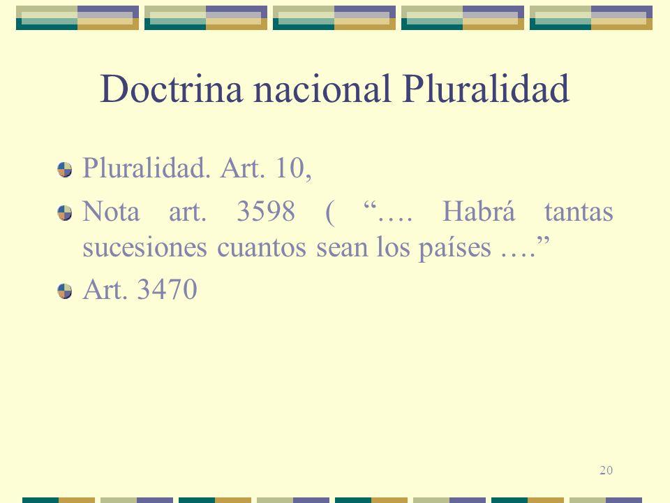 Doctrina nacional Pluralidad