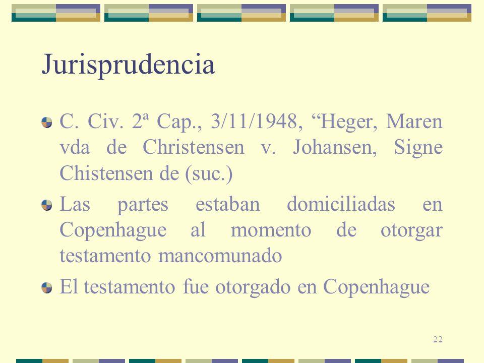 JurisprudenciaC. Civ. 2ª Cap., 3/11/1948, Heger, Maren vda de Christensen v. Johansen, Signe Chistensen de (suc.)