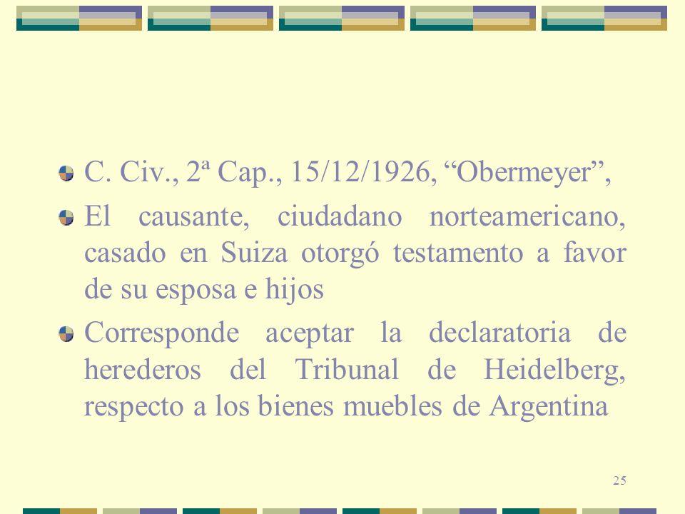 C. Civ., 2ª Cap., 15/12/1926, Obermeyer ,