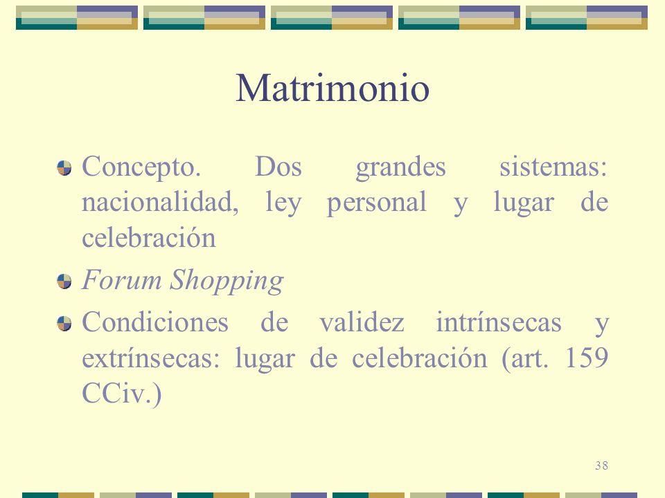 Matrimonio Concepto. Dos grandes sistemas: nacionalidad, ley personal y lugar de celebración. Forum Shopping.