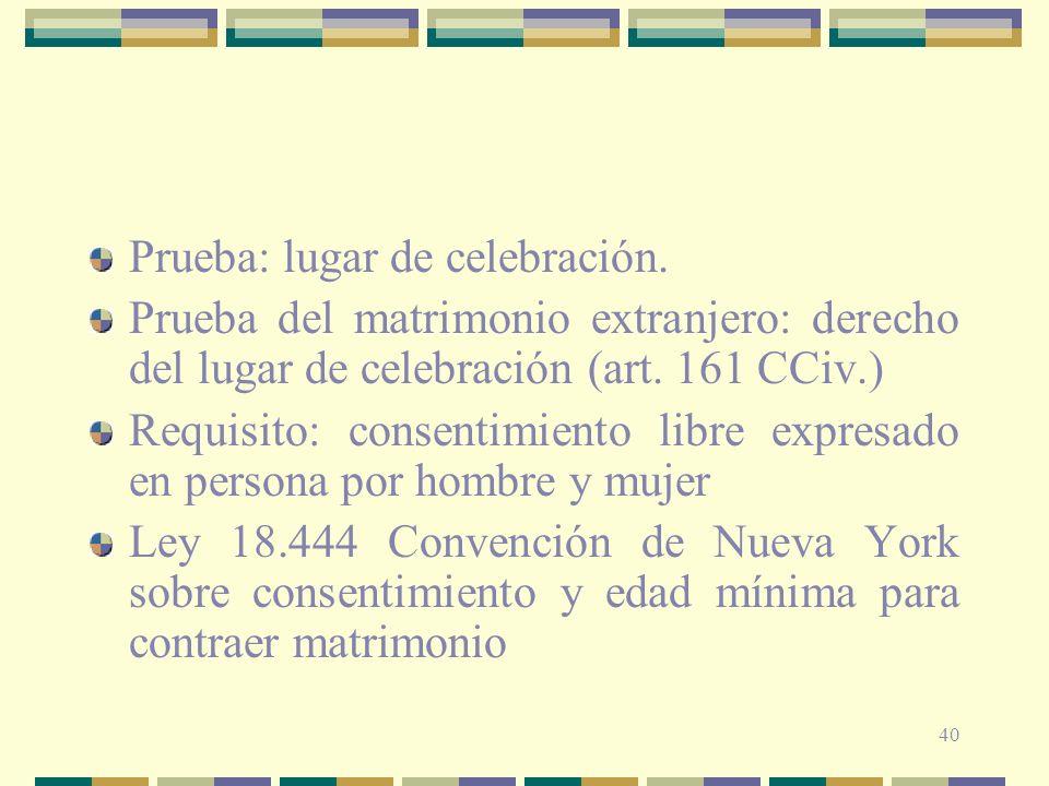Prueba: lugar de celebración.