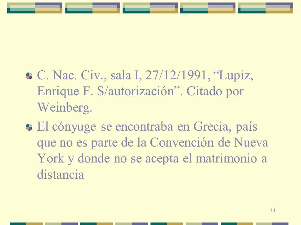 C. Nac. Civ. , sala I, 27/12/1991, Lupiz, Enrique F. S/autorización