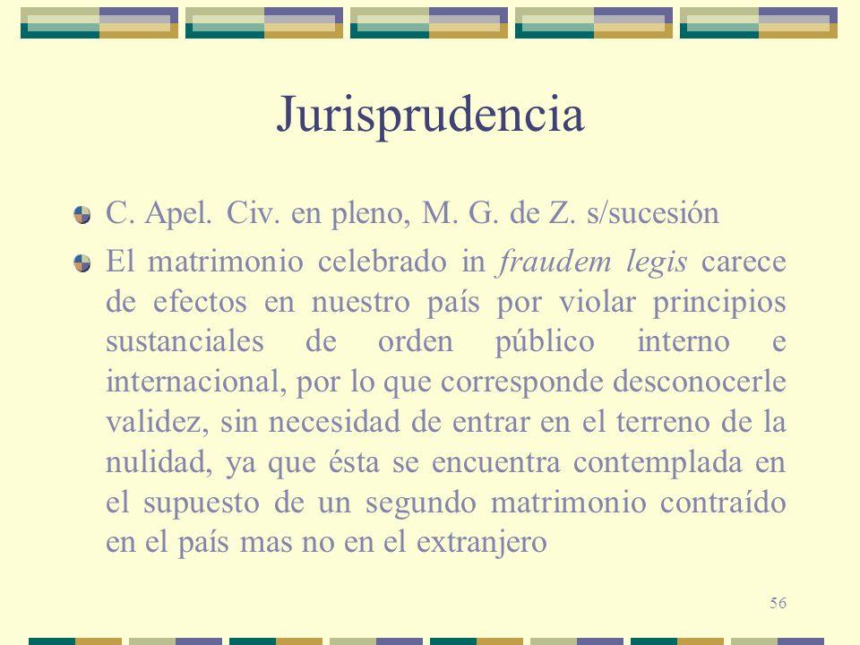 Jurisprudencia C. Apel. Civ. en pleno, M. G. de Z. s/sucesión