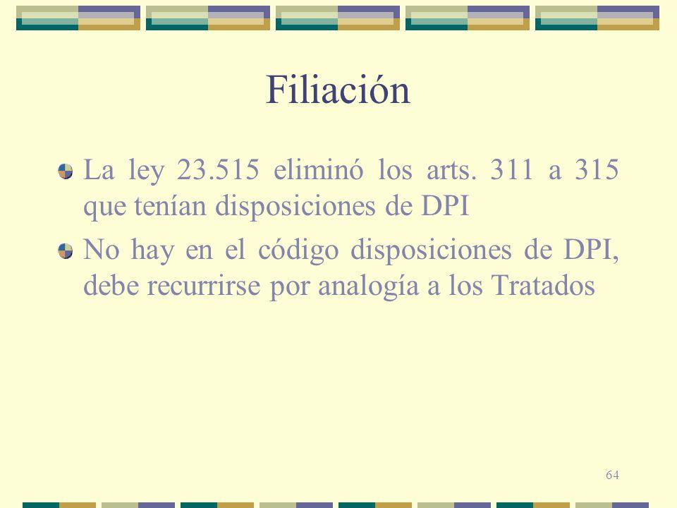 Filiación La ley 23.515 eliminó los arts. 311 a 315 que tenían disposiciones de DPI.