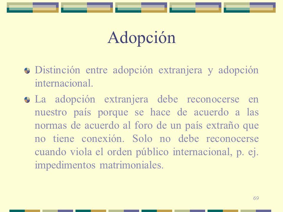 Adopción Distinción entre adopción extranjera y adopción internacional.