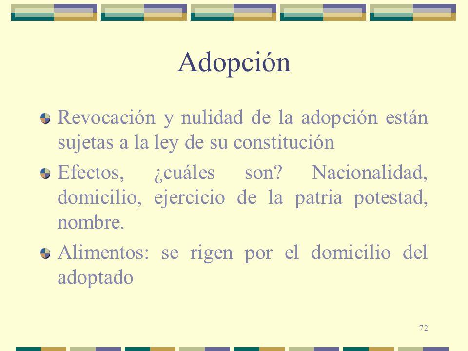 Adopción Revocación y nulidad de la adopción están sujetas a la ley de su constitución.