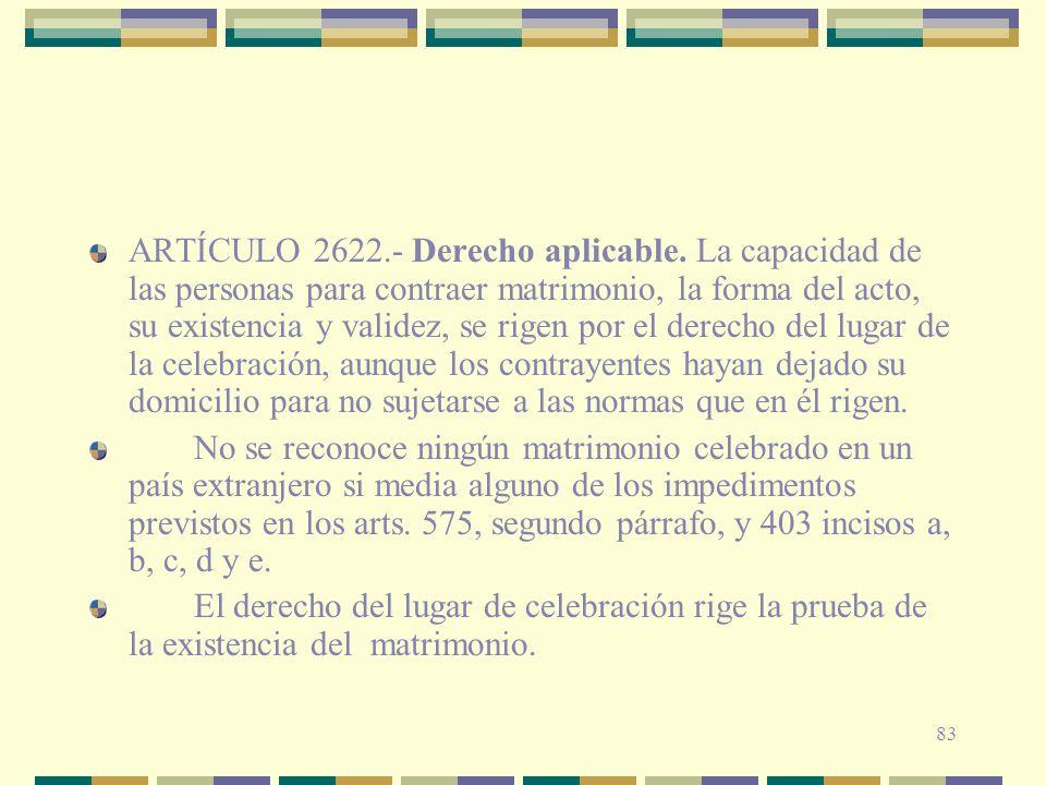 ARTÍCULO 2622. - Derecho aplicable