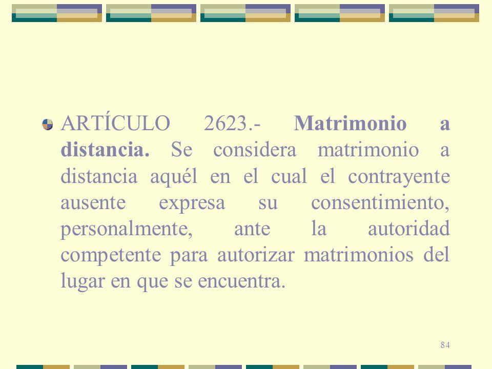 ARTÍCULO 2623. - Matrimonio a distancia