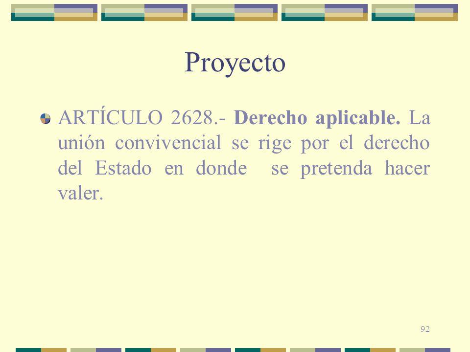 Proyecto ARTÍCULO 2628.- Derecho aplicable.