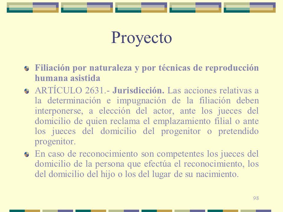 Proyecto Filiación por naturaleza y por técnicas de reproducción humana asistida.