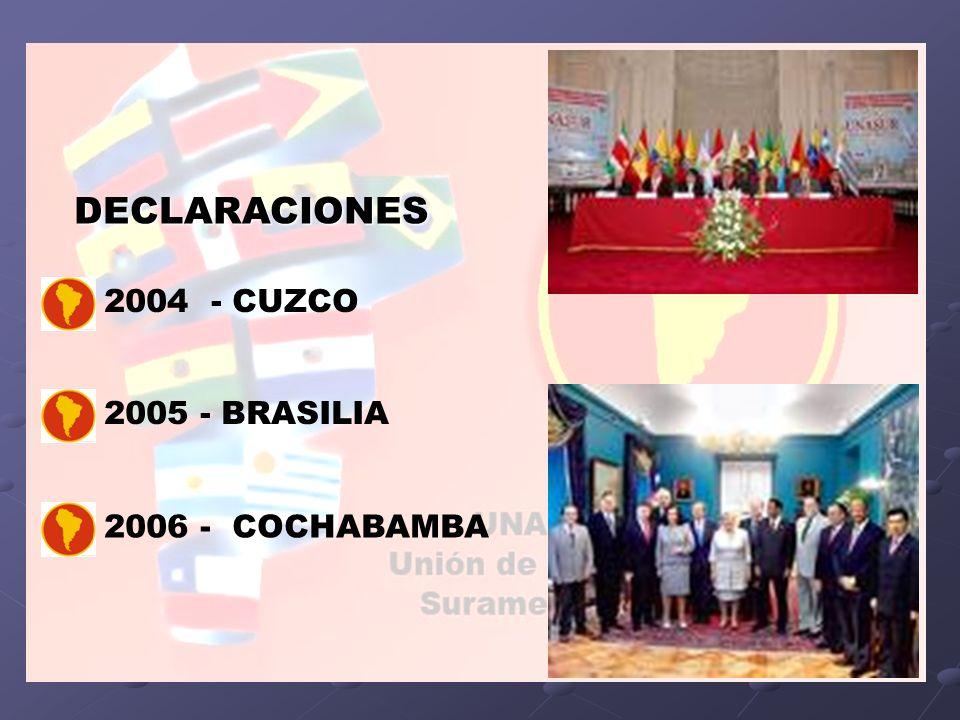 DECLARACIONES 2004 - CUZCO 2005 - BRASILIA 2006 - COCHABAMBA
