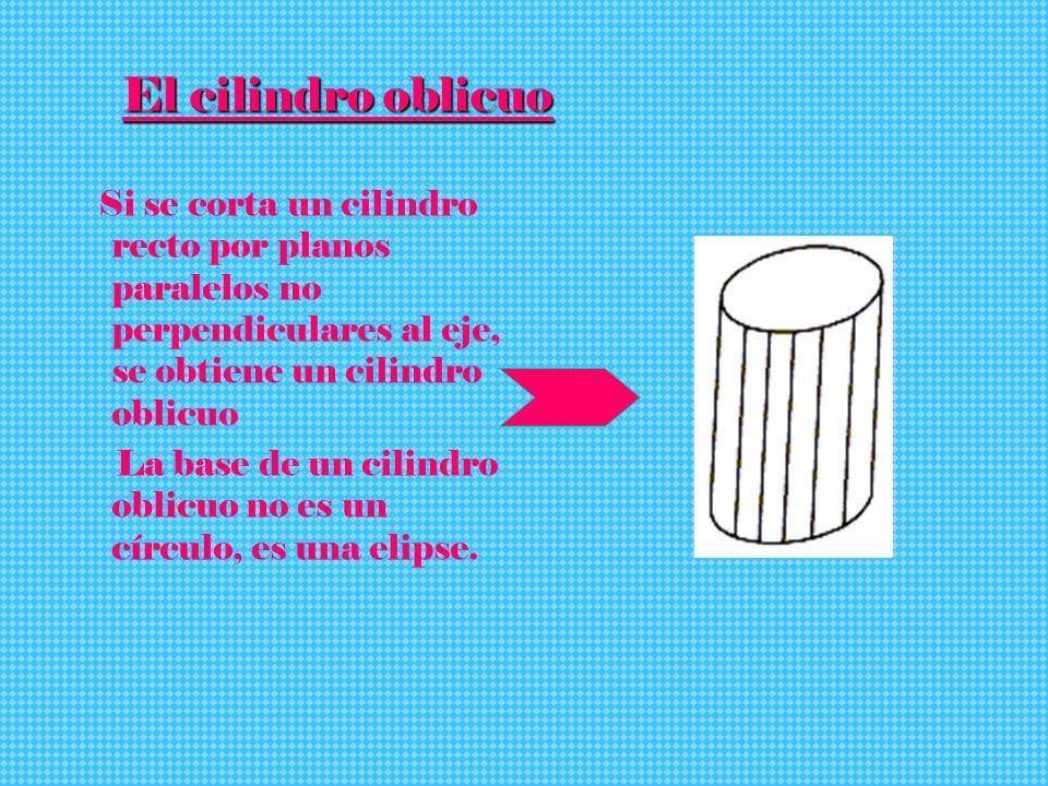 El cilindro oblicuo Si se corta un cilindro recto por planos paralelos no perpendiculares al eje, se obtiene un cilindro oblicuo.