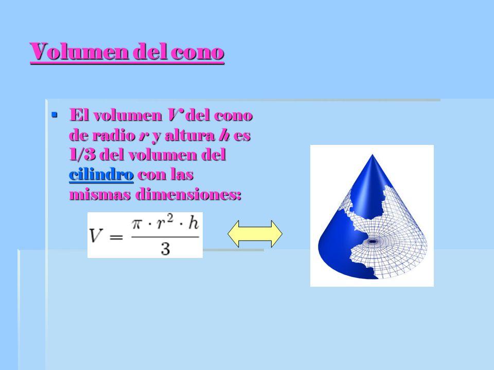 Volumen del cono El volumen V del cono de radio r y altura h es 1/3 del volumen del cilindro con las mismas dimensiones:
