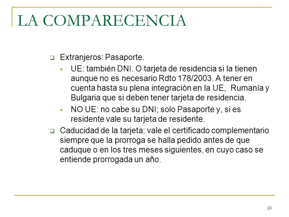 LA COMPARECENCIA Extranjeros: Pasaporte.