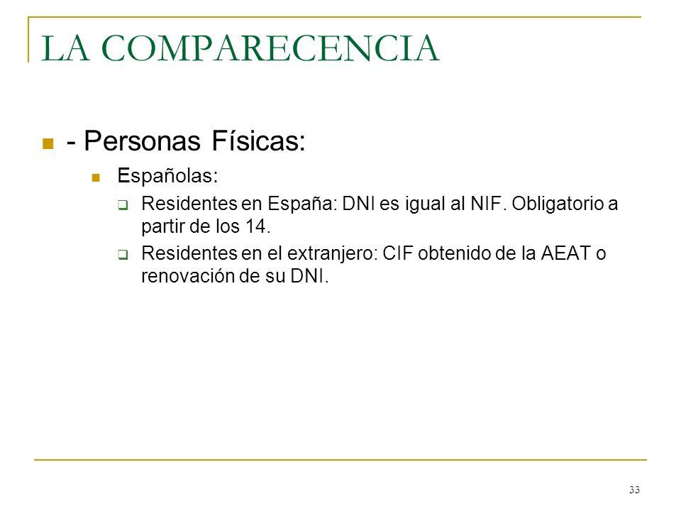 LA COMPARECENCIA - Personas Físicas: Españolas:
