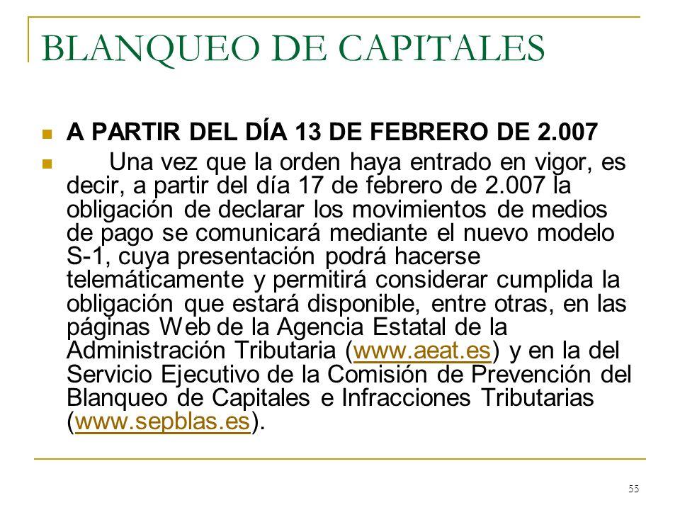 BLANQUEO DE CAPITALES A PARTIR DEL DÍA 13 DE FEBRERO DE 2.007