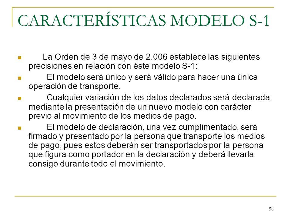 CARACTERÍSTICAS MODELO S-1