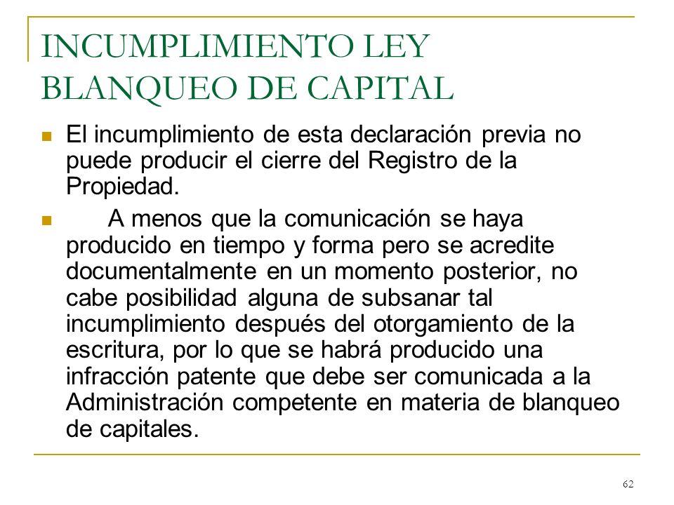 INCUMPLIMIENTO LEY BLANQUEO DE CAPITAL