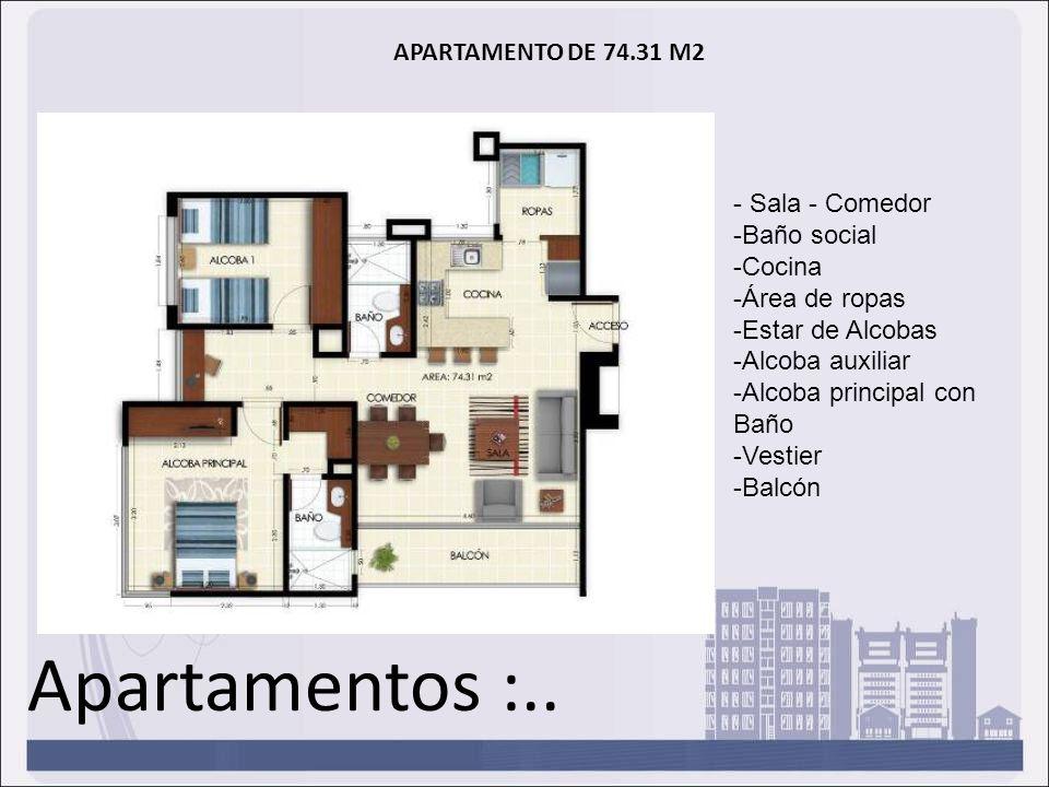 Apartamentos :.. APARTAMENTO DE 74.31 M2 - Sala - Comedor -Baño social