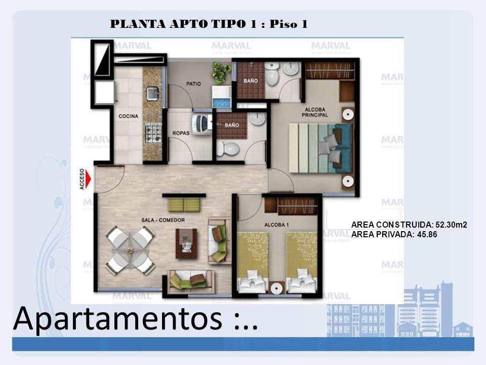 Apartamentos :.. PLANTA APTO TIPO 1 : Piso 1 AREA CONSTRUIDA: 52.30m2