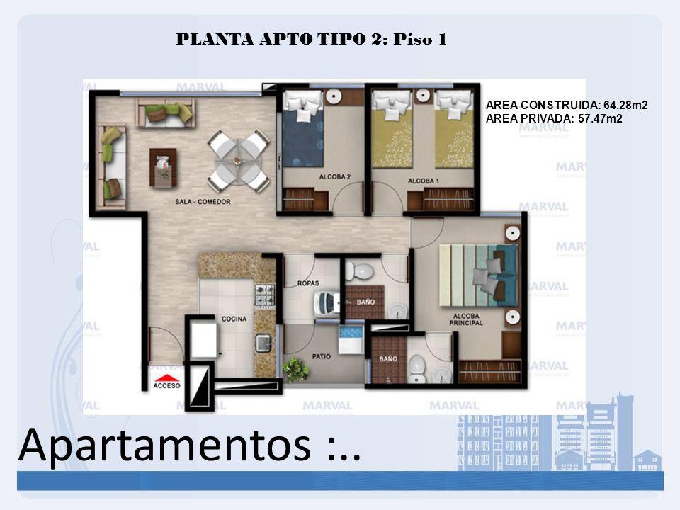 Apartamentos :.. PLANTA APTO TIPO 2: Piso 1 AREA CONSTRUIDA: 64.28m2