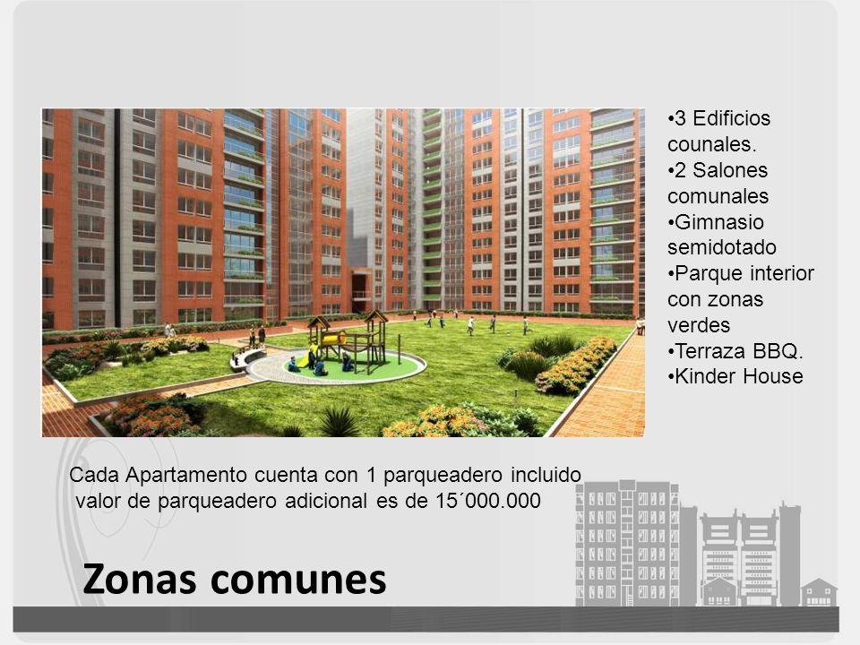 Zonas comunes 3 Edificios counales. 2 Salones comunales