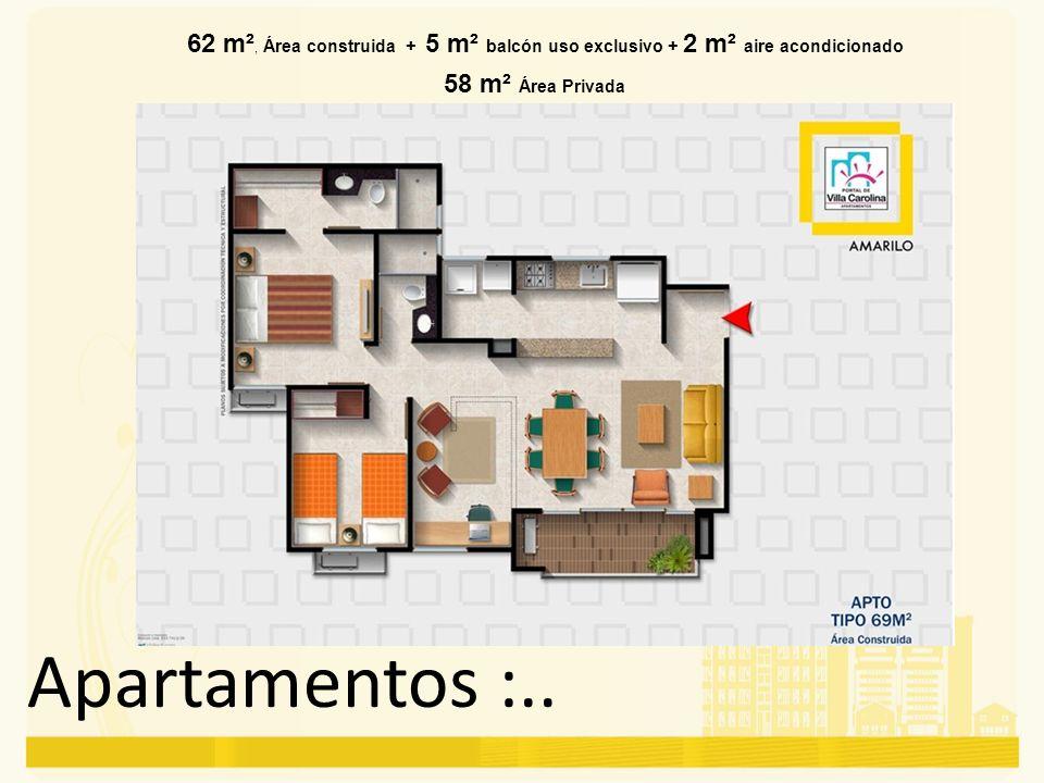 62 m², Área construida + 5 m² balcón uso exclusivo + 2 m² aire acondicionado