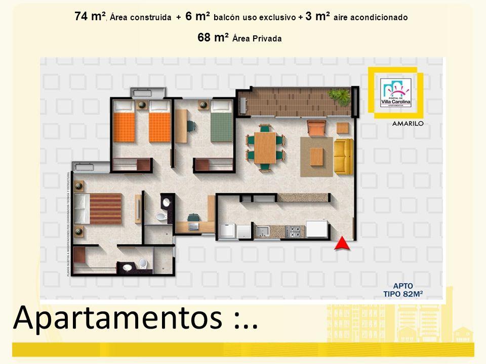 74 m², Área construida + 6 m² balcón uso exclusivo + 3 m² aire acondicionado