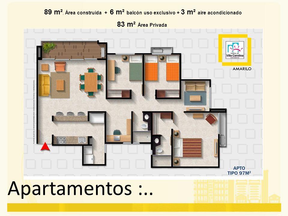 89 m², Área construida + 6 m² balcón uso exclusivo + 3 m² aire acondicionado