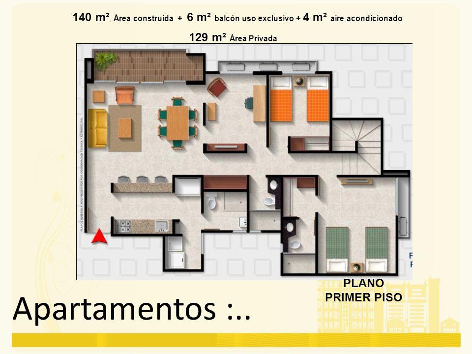 140 m², Área construida + 6 m² balcón uso exclusivo + 4 m² aire acondicionado