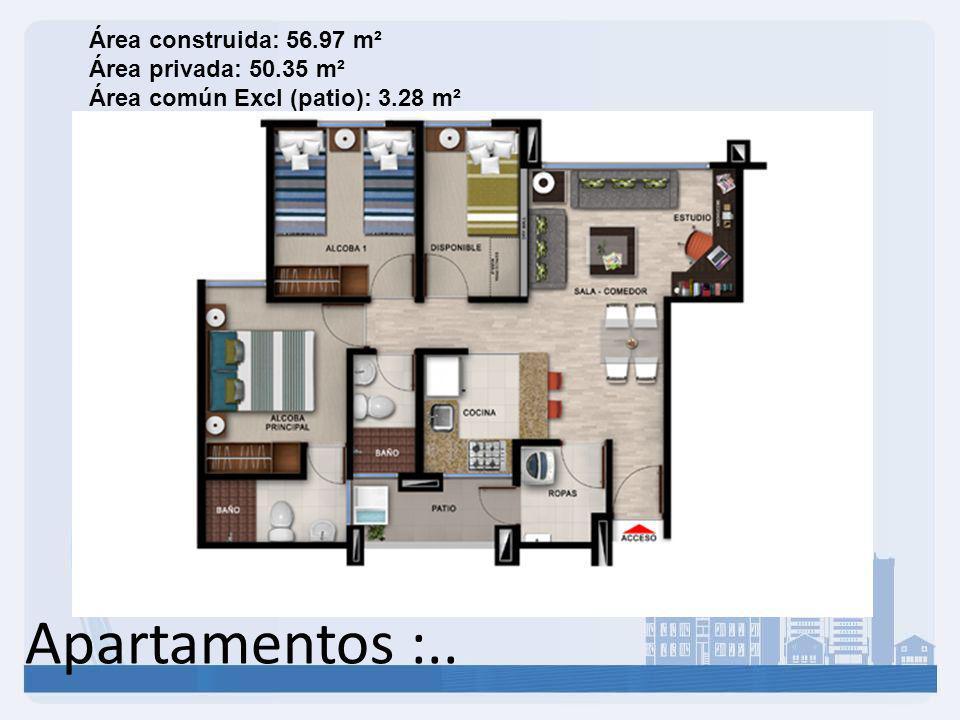 Área construida: 56. 97 m² Área privada: 50
