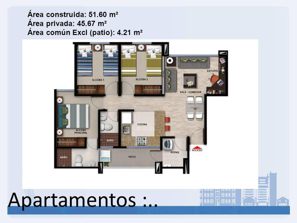 Área construida: 51. 60 m² Área privada: 45