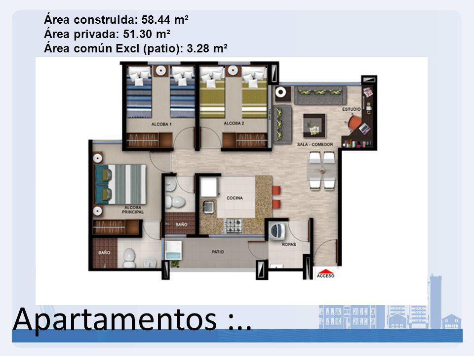 Área construida: 58. 44 m² Área privada: 51