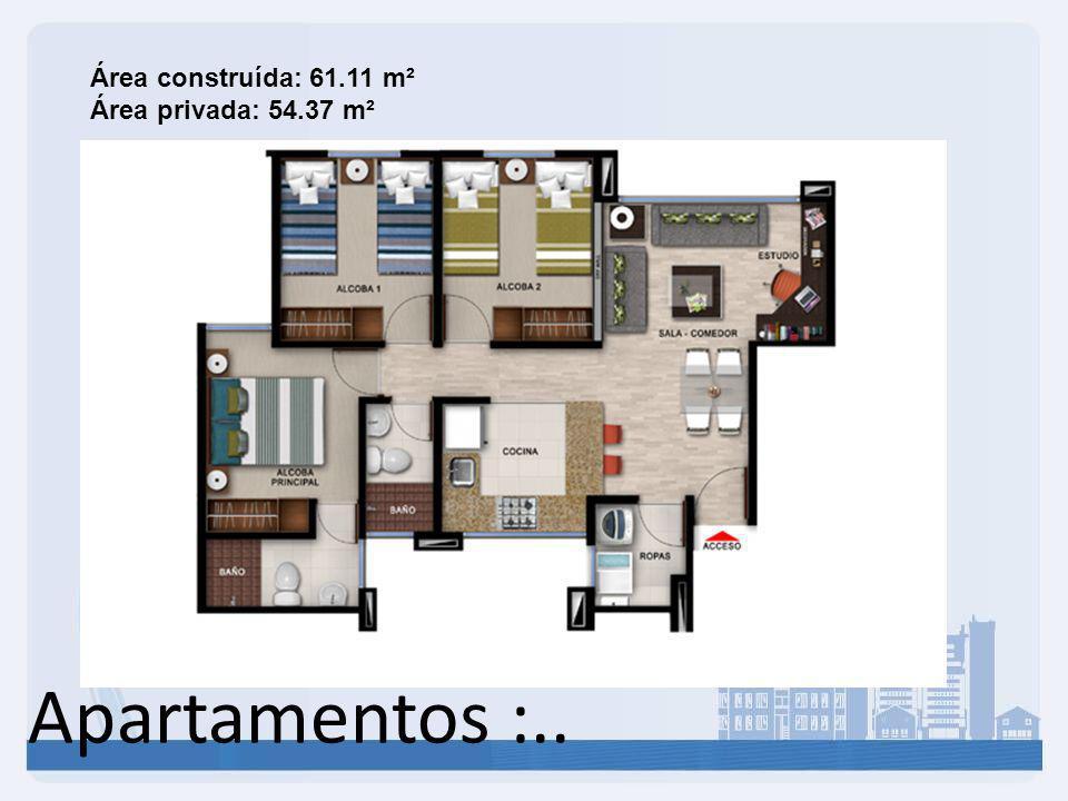 Área construída: 61.11 m² Área privada: 54.37 m²