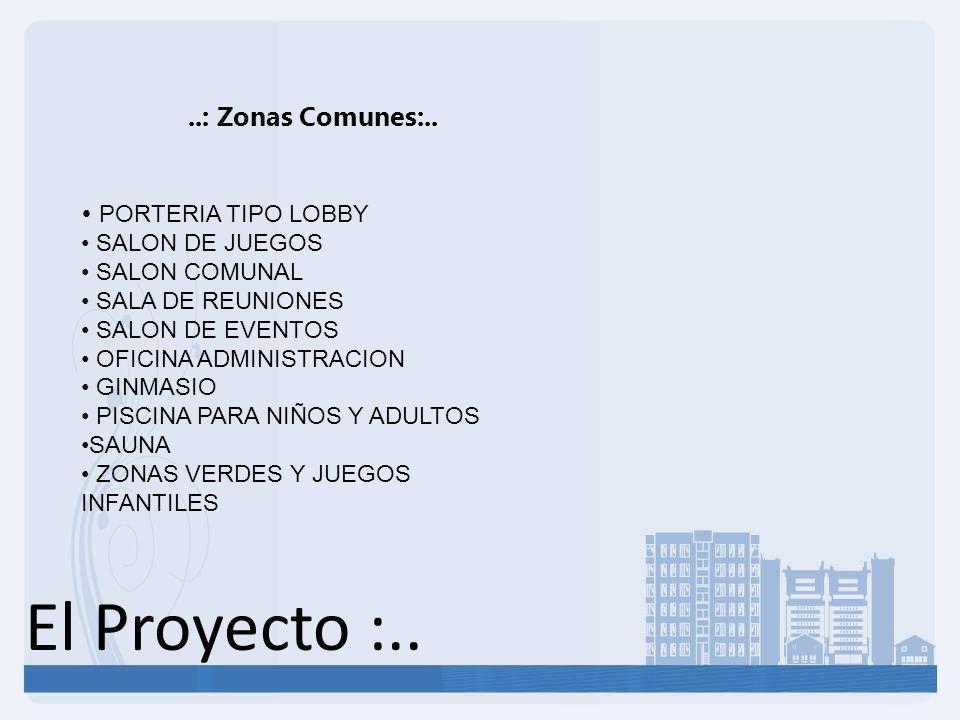 El Proyecto :.. ..: Zonas Comunes:.. PORTERIA TIPO LOBBY