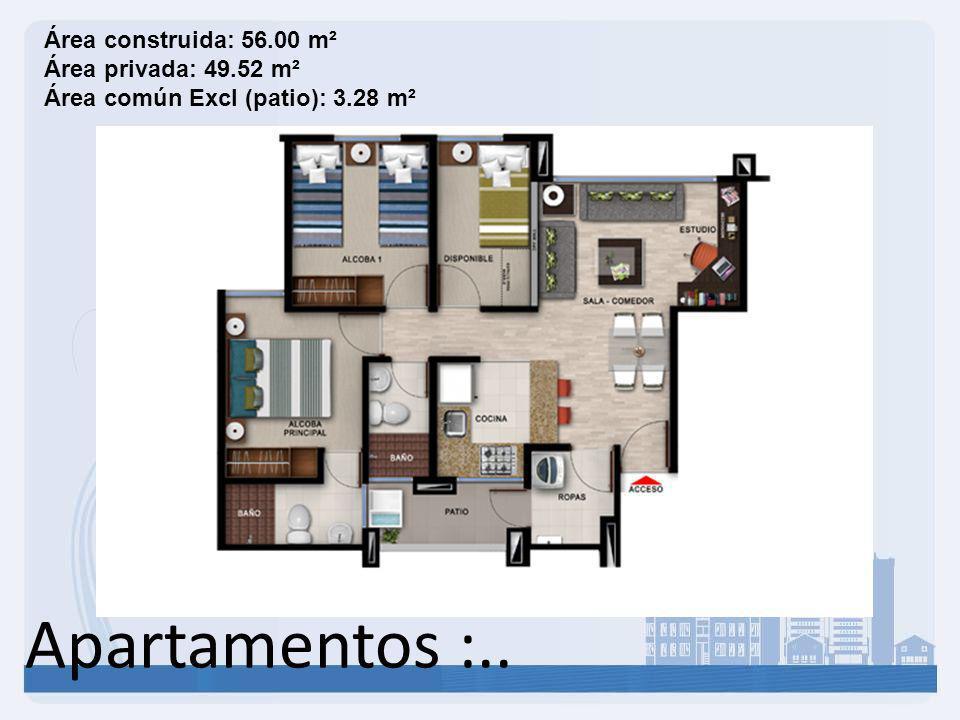 Área construida: 56. 00 m² Área privada: 49