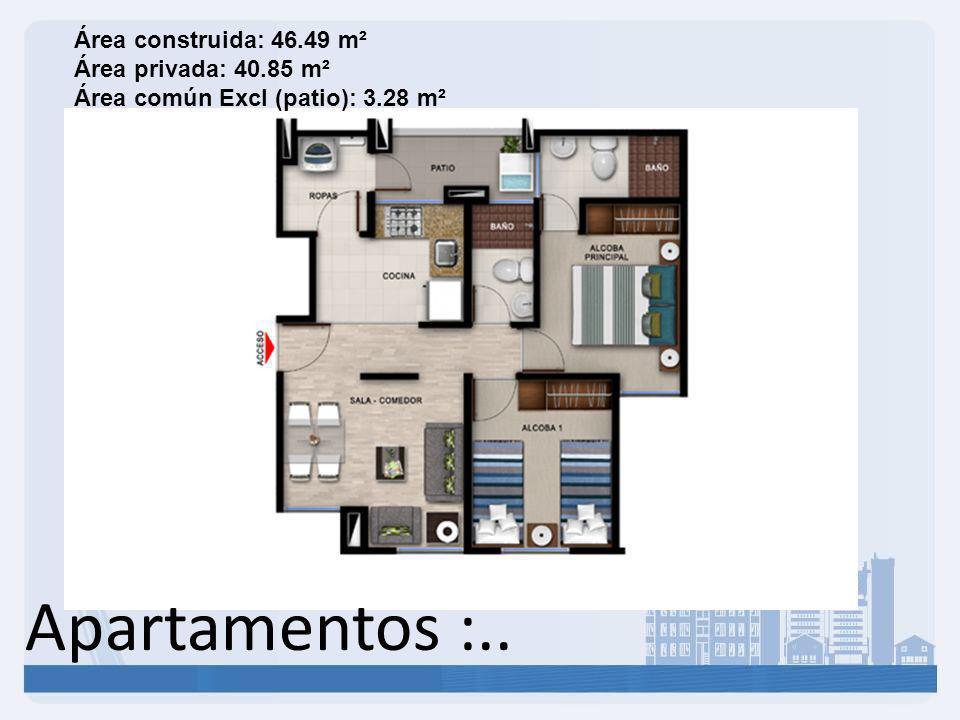 Área construida: 46. 49 m² Área privada: 40