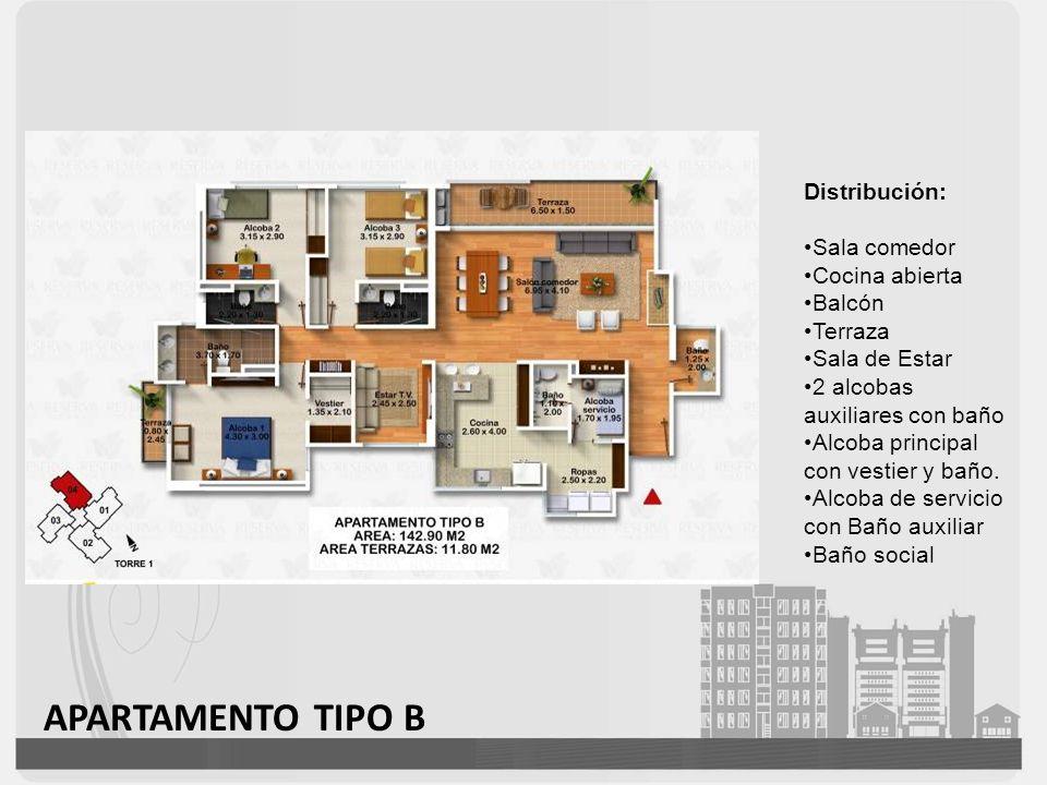 APARTAMENTO TIPO B Distribución: Sala comedor Cocina abierta Balcón