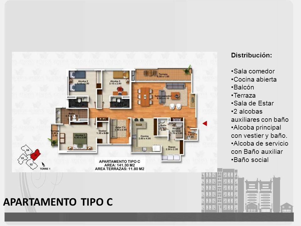 APARTAMENTO TIPO C Distribución: Sala comedor Cocina abierta Balcón