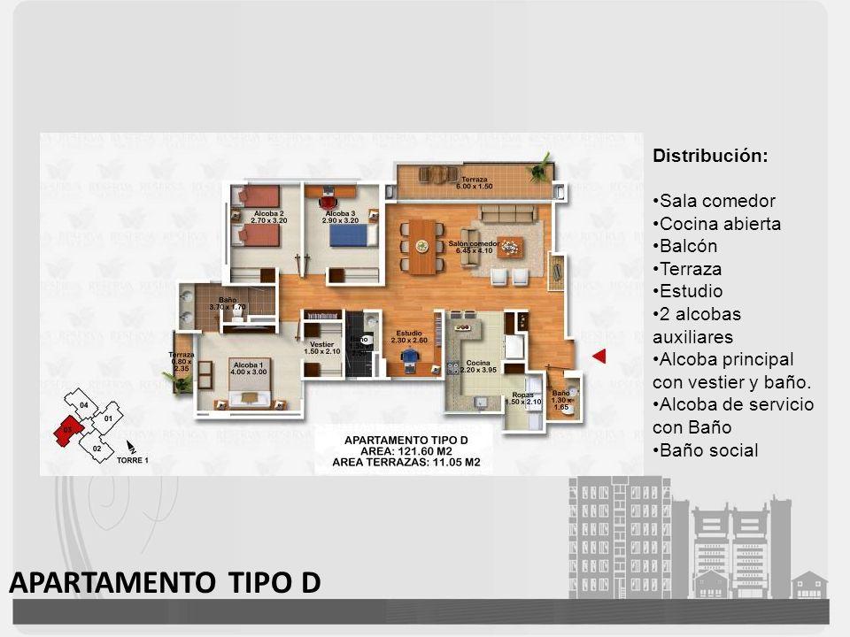 APARTAMENTO TIPO D Distribución: Sala comedor Cocina abierta Balcón