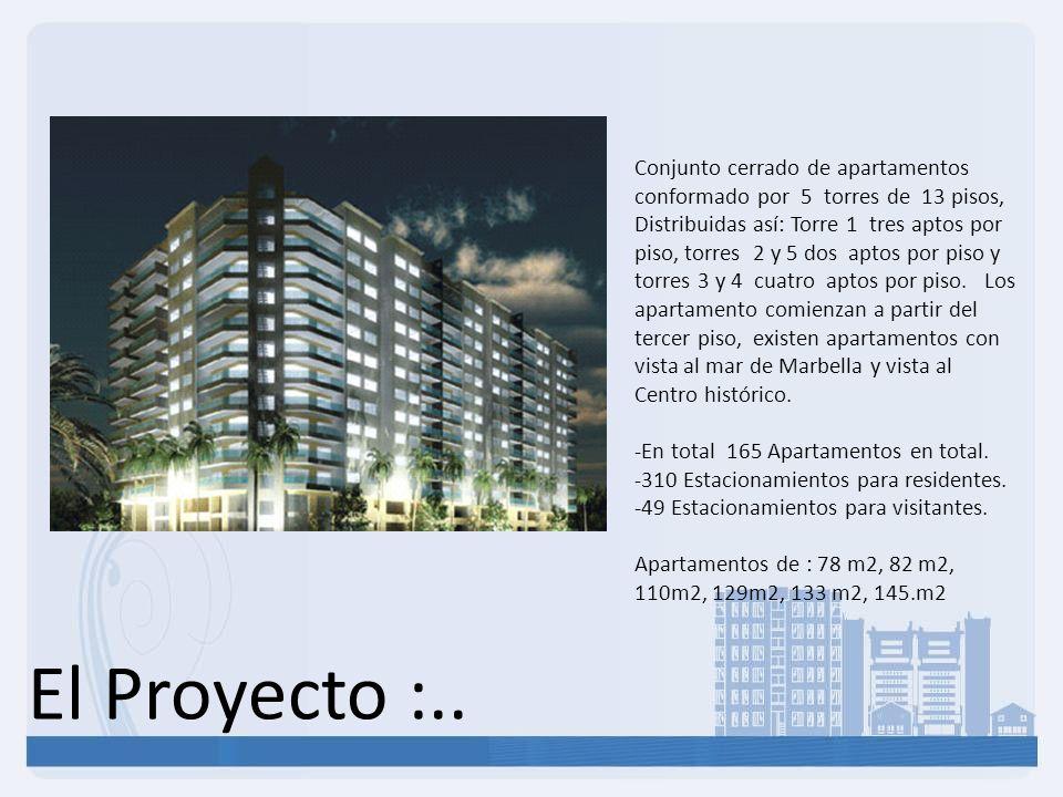 Conjunto cerrado de apartamentos conformado por 5 torres de 13 pisos, Distribuidas así: Torre 1 tres aptos por piso, torres 2 y 5 dos aptos por piso y torres 3 y 4 cuatro aptos por piso. Los apartamento comienzan a partir del tercer piso, existen apartamentos con vista al mar de Marbella y vista al Centro histórico.
