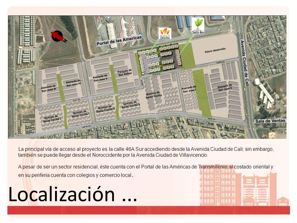 La principal vía de acceso al proyecto es la calle 46A Sur accediendo desde la Avenida Ciudad de Cali; sin embargo, también se puede llegar desde el Noroccidente por la Avenida Ciudad de Villavicencio.