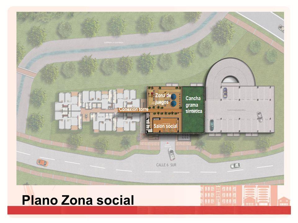 Plano Zona social Zona de juegos Cancha grama sintética Conexión torre