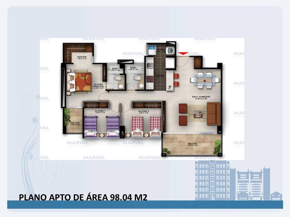 PLANO APTO DE ÁREA 98.04 M2