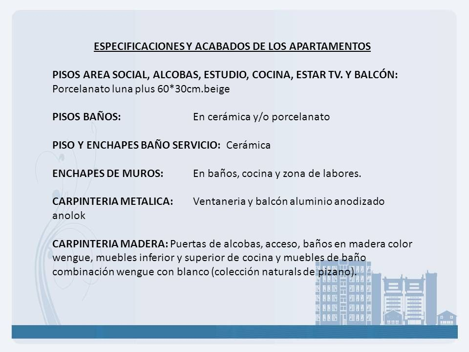 ESPECIFICACIONES Y ACABADOS DE LOS APARTAMENTOS