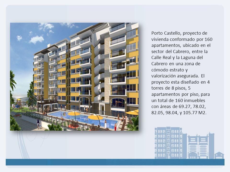 Porto Castello, proyecto de vivienda conformado por 160 apartamentos, ubicado en el sector del Cabrero, entre la Calle Real y la Laguna del Cabrero en una zona de cómodo estrato y valorización asegurada.