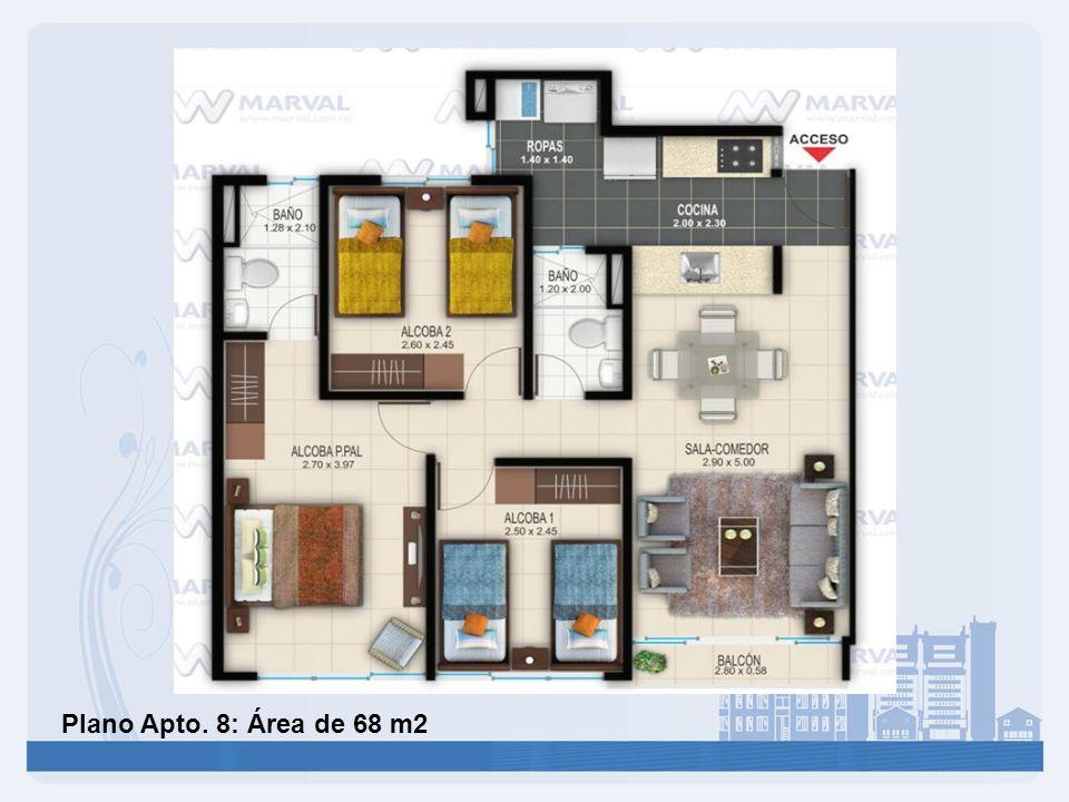 Plano Apto. 8: Área de 68 m2